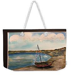Sail Boat On Shore Weekender Tote Bag