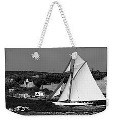 sailboat - a one mast classical vessel sailing in one of the most beautiful harbours Port Mahon Weekender Tote Bag