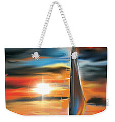 Weekender Tote Bag featuring the digital art Sailboat And Sunset by Darren Cannell