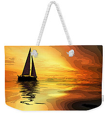 Sailboat At Sunset Weekender Tote Bag by Charles Shoup