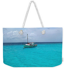 Sailboat Drifting In The Caribbean Azure Sea Weekender Tote Bag by Amy McDaniel