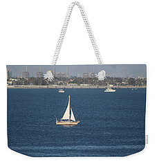 Sailboat On The Pacific In Long Beach Weekender Tote Bag