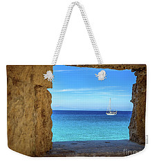 Sailboat Through The Old Stone Walls Of Rhodes, Greece Weekender Tote Bag