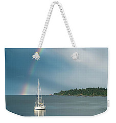 Sailboat Under The Rainbow Weekender Tote Bag