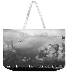 Sailboats And Thunderheads In Bw Weekender Tote Bag