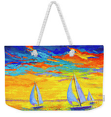 Weekender Tote Bag featuring the painting Sailboats At Sunset, Colorful Landscape, Impressionistic Art by Patricia Awapara