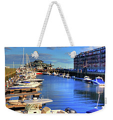 Weekender Tote Bag featuring the photograph Sailboats Docked On Boston Harbor by Joann Vitali