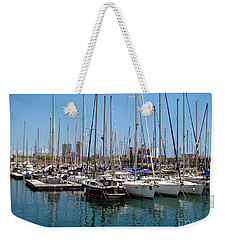 Weekender Tote Bag featuring the photograph Sailboats Galore by Sue Melvin