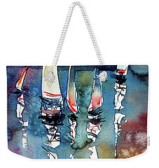 Weekender Tote Bag featuring the painting Sailboats II by Kovacs Anna Brigitta