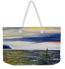 Weekender Tote Bag featuring the painting Sailing At Dusk by Marilyn  McNish