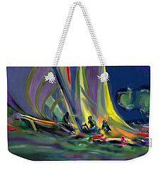 Weekender Tote Bag featuring the digital art Sailing by Darren Cannell