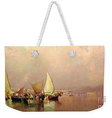 Sailing Fishermen Boats In Naples Weekender Tote Bag