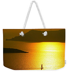 Weekender Tote Bag featuring the photograph Sailing On Gold 1 by Ana Maria Edulescu