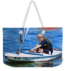 Weekender Tote Bag featuring the painting Sailing On Lake Thunderbird by Joshua Martin
