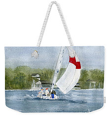Weekender Tote Bag featuring the painting Sailing On Niagara River by Melly Terpening