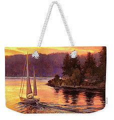 Weekender Tote Bag featuring the painting Sailing On The Sound by Steve Henderson