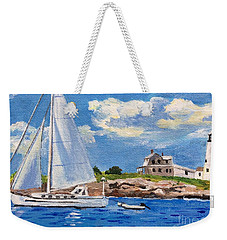 Sailing Past Wood Island Lighthouse Weekender Tote Bag