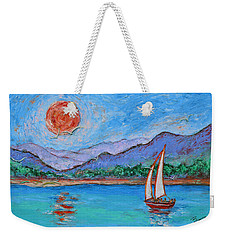 Weekender Tote Bag featuring the painting Sailing Red Sun by Xueling Zou