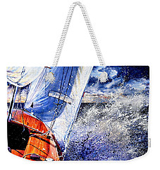 Weekender Tote Bag featuring the painting Sailing Souls by Hanne Lore Koehler