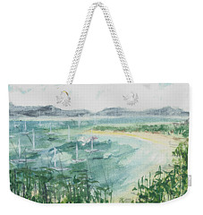 Weekender Tote Bag featuring the painting Sailing The South Of France by Reed Novotny