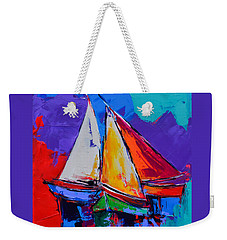 Weekender Tote Bag featuring the painting Sails Colors by Elise Palmigiani
