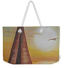 Weekender Tote Bag featuring the painting Sails In The Sunset by Debbie Baker
