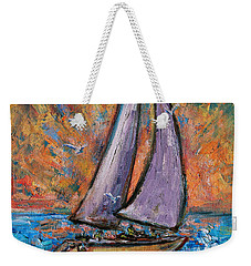Weekender Tote Bag featuring the painting Sails Up by Xueling Zou