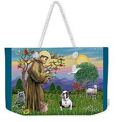 Saint Francis Blesses A Brown And White English Bulldog Weekender Tote Bag