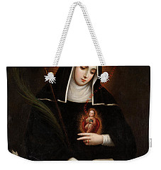 Weekender Tote Bag featuring the painting Saint Gertrude by Miguel Cabrera