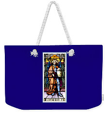 Weekender Tote Bag featuring the photograph Saint Michael The Archangel Stained Glass Window by Rose Santuci-Sofranko