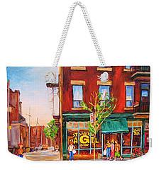 Weekender Tote Bag featuring the painting Saint Viateur Bagel by Carole Spandau