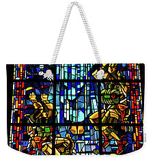 Sainte-mere-eglise Paratrooper Tribute Stained Glass Window Weekender Tote Bag