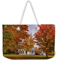 Weekender Tote Bag featuring the photograph Salem Church In Autumn by Jeff Folger