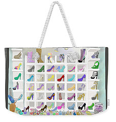 Weekender Tote Bag featuring the painting Salina's Shoe Closet by Melinda Ledsome