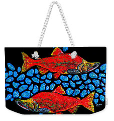 Weekender Tote Bag featuring the painting Salmon by Debbie Chamberlin