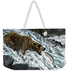 Weekender Tote Bag featuring the photograph Salmon Fishing by Don Olea