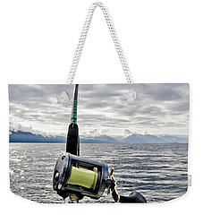 Salmon Fishing Rod Weekender Tote Bag by Darcy Michaelchuk