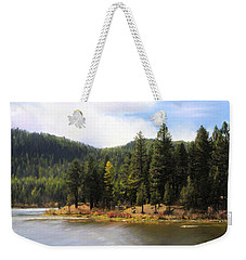 Weekender Tote Bag featuring the painting Salmon Lake Montana by Susan Kinney
