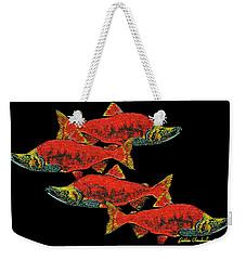 Weekender Tote Bag featuring the painting Salmon Season by Debbie Chamberlin