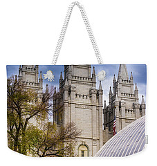 Weekender Tote Bag featuring the photograph Salt Lake Lds Temple And Tabernacle - Utah by Gary Whitton