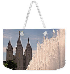Weekender Tote Bag featuring the photograph Salt Lake Temple And Fountain by Rona Black