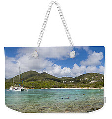 Weekender Tote Bag featuring the photograph Salt Pond Bay Panoramic by Adam Romanowicz