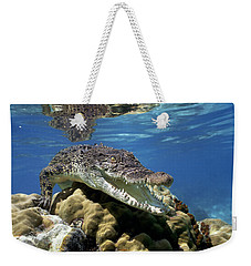 Saltwater Crocodile Smile Weekender Tote Bag by Mike Parry