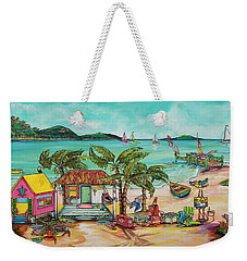 Weekender Tote Bag featuring the painting Salty Kisses And Star Fish Wishes by Patti Schermerhorn