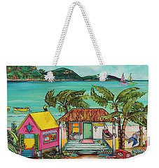 Weekender Tote Bag featuring the painting Salty Kisses Smaller Version by Patti Schermerhorn