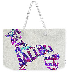 Weekender Tote Bag featuring the painting Saluki Dog Watercolor Painting / Typographic Art by Ayse and Deniz