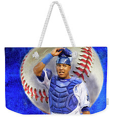 Weekender Tote Bag featuring the mixed media Salvador Perez-kc Royals by Colleen Taylor