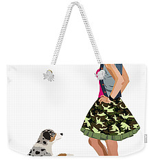 Weekender Tote Bag featuring the digital art Samantha by Nancy Levan
