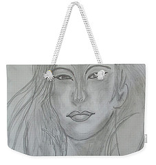 Weekender Tote Bag featuring the drawing Samarai Warrior Woman by Sharyn Winters