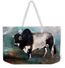 Weekender Tote Bag featuring the painting Samson The Master Champion Herd Sire Miniature Zebu by Barbie Batson